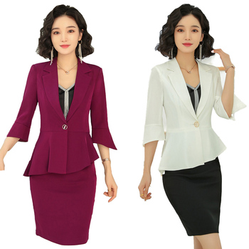 New Skirt Suits for Women Business Suits Blazer and Jacket Set Work Wear Clothes Blazer Skirt Set Office Lady Suit Lady Uniform skirt suit for women jacket female korean version 2019 spring and autumn office lady uniform blazer chiffon skirt 9856