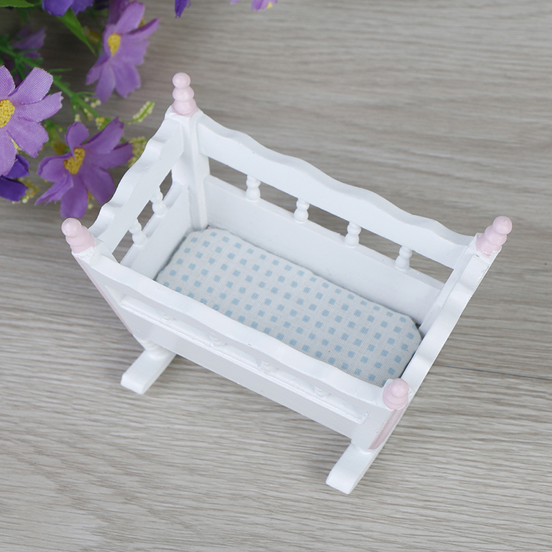 1:12 Dollhouse Miniature Dolls Furniture White Wooden Cardle Baby Bed Kids Toys Wooden Nursery Cradle Baby Crib