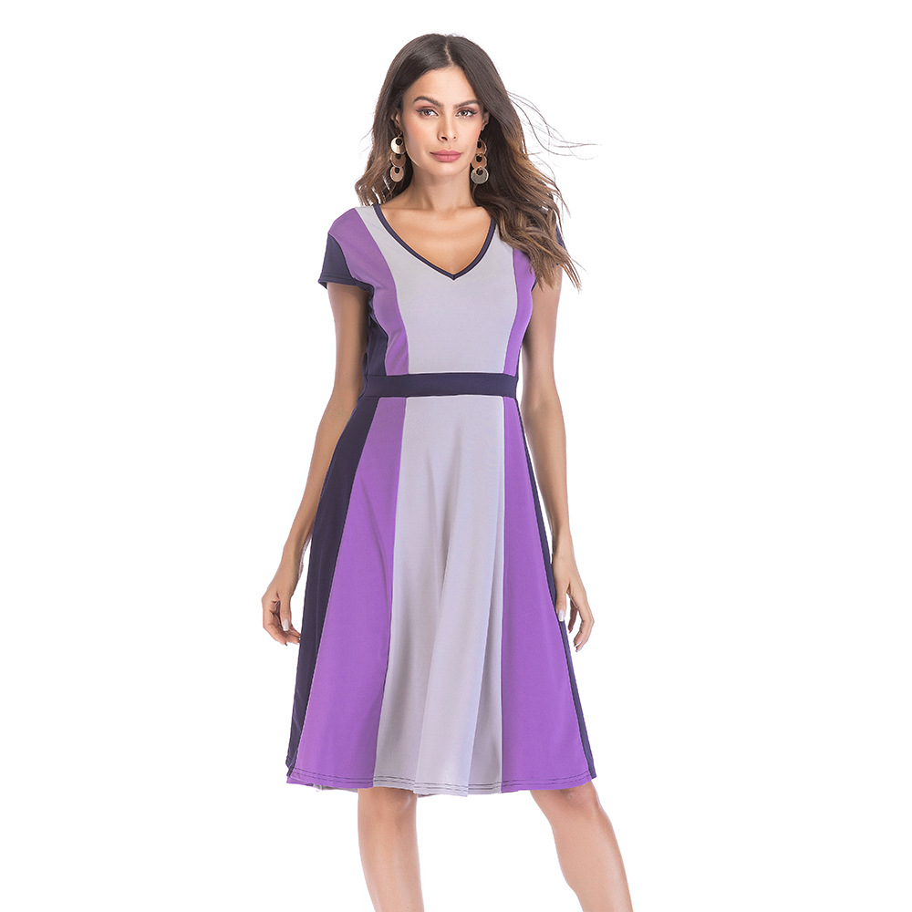 Madam clothing OWLPRINCESS Women's clothing v-neck color stitching posed dress with short sleeves