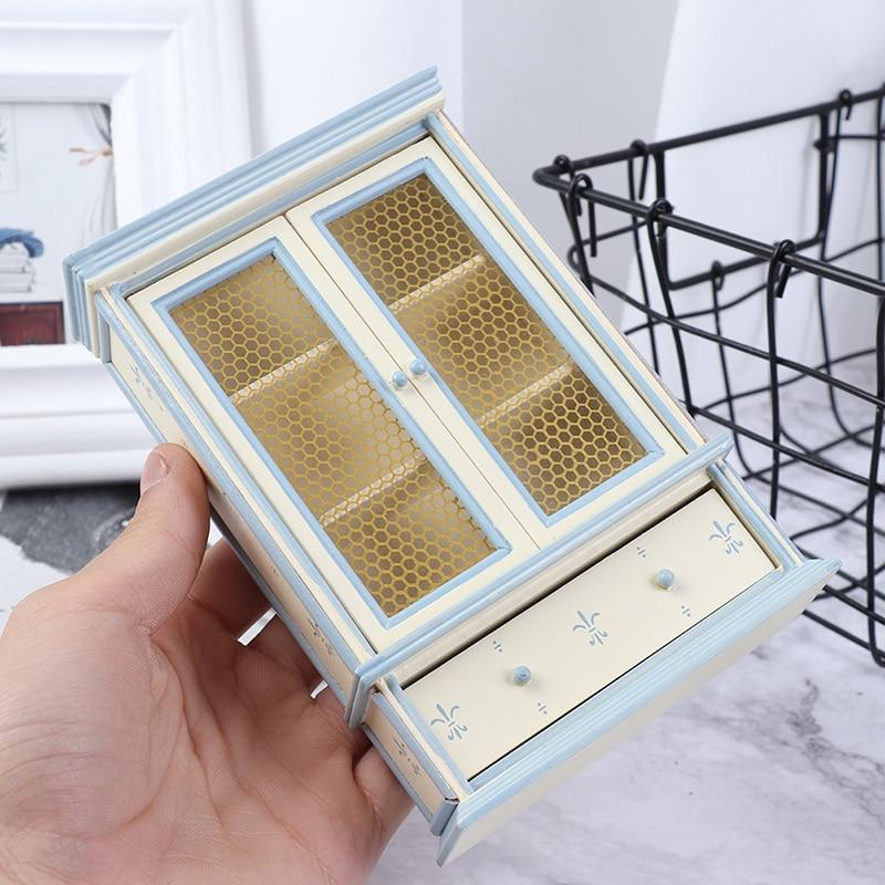 1:12 Dollhouse Miniature Kitchen Furniture White Cupboards Display Cabinet  Children Gift
