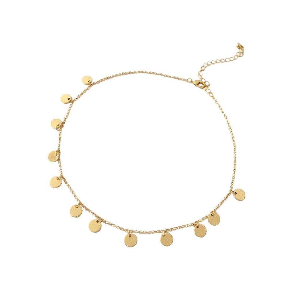 Женское короткое ожерелье с Круглым Диском, повседневное ожерелье простого дизайна высокого качества, 2019