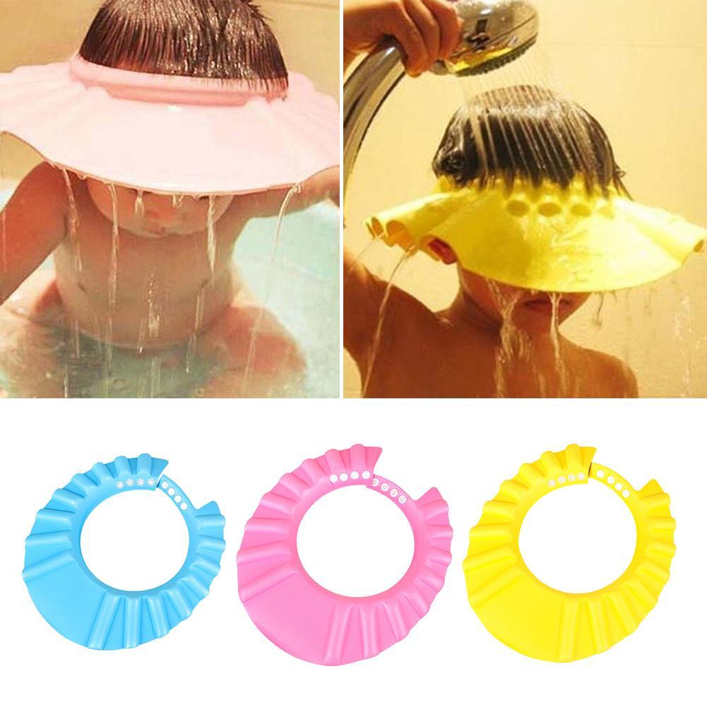 Children Kids Baby Shower Bath Soft Silicone Adjustable Cap Hat Ear Protection Kids Bathroom Shampoo Cap Child Bath Accessories
