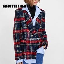 Elegant Woolen Women Coat Vintage Plaid Suit Frayed Checked Tweed Blazers Double