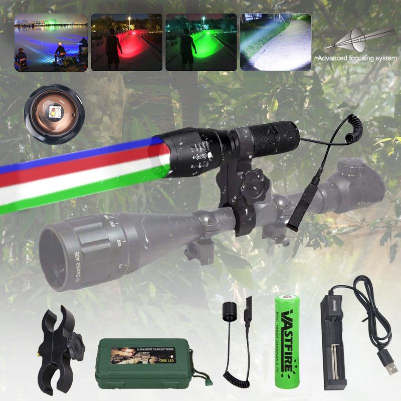 Zoom Taktisch 4 in 1 Taschenlampe RGBW Rot Grün Blau Weiß Licht LED Jagd Lampe