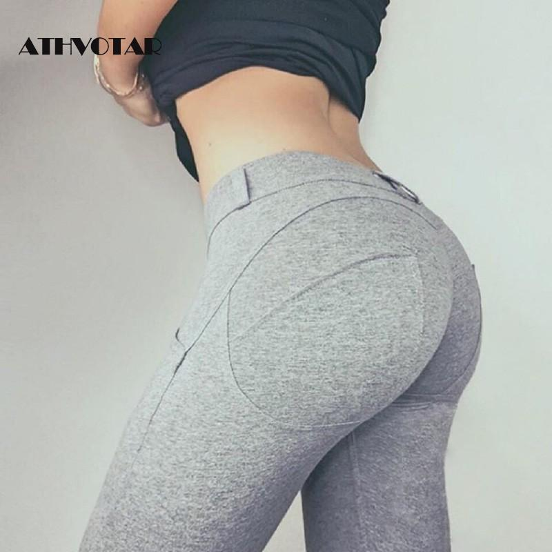 ATHVOTAR Women Push Up Fitness Leggings Low Waist Slim Leggings Fashion Workout Female Elastic Jeggings With Pocket|Leggings| - AliExpress