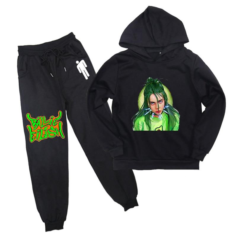Billie Eilish Printed Children Boys Girls Casual Hoodie Sweatshirt & Harem Pants Clothes Set Cotton Stylish Hoodie Jersey Pants