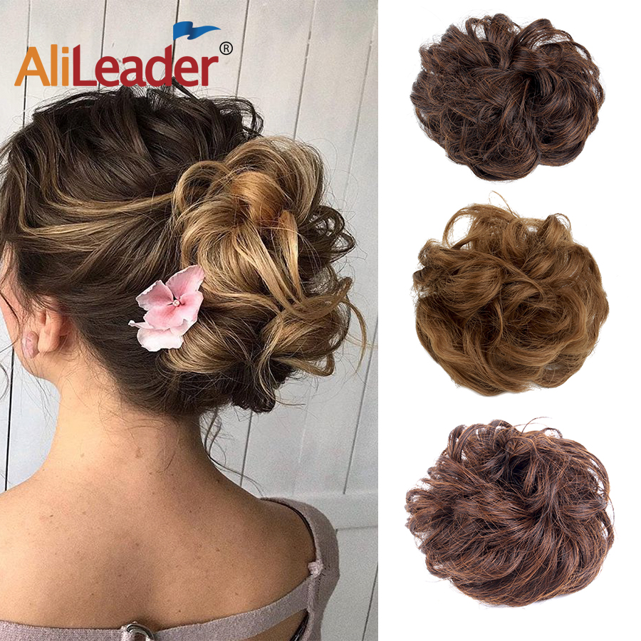Alileader Messy Hair Bun Extensions Curly Hair Donut Synthetic Hair Chignons Hair Rope Piece Elastic Band Donut Updo Ponytail