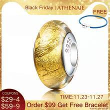 ATHENAIE Genuine Vetro di Murano Argento 925 Core Stagnola di Oro di Fascino del Branello Europee Pendenti E Ciondoli Braccialetti di Colore Giallo Dei Monili Di Natale