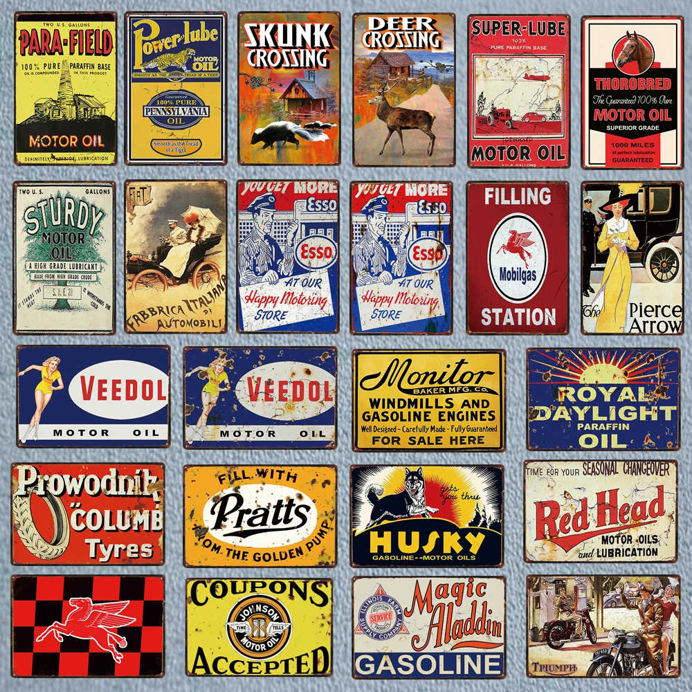 Vintage Design Sign Metal Decor Gas and Oil Sign Esso Motor Oil and Gasoline
