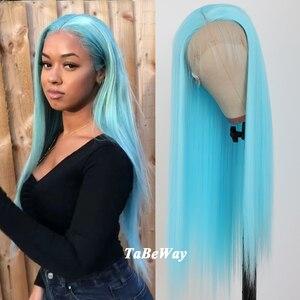 TaBeWay pelucas largas rectas de encaje frontal Peluca de Color azul pelo de fibra resistente al calor pelucas frontales de encaje sintético para mujeres de moda