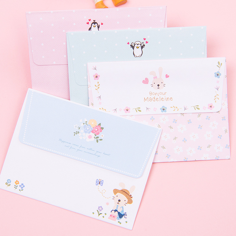 South Korea Stationery Cards Mini Envelope Writing Paper Set Cute Simple Love Letter Creative 4-Writing Paper + 2 Envelope