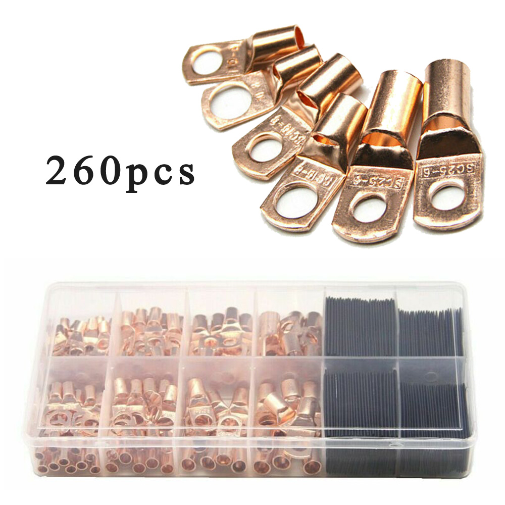 260* Wire Ring Terminals Copper Cable Lug Connector With Heat Shrink Tubing Set