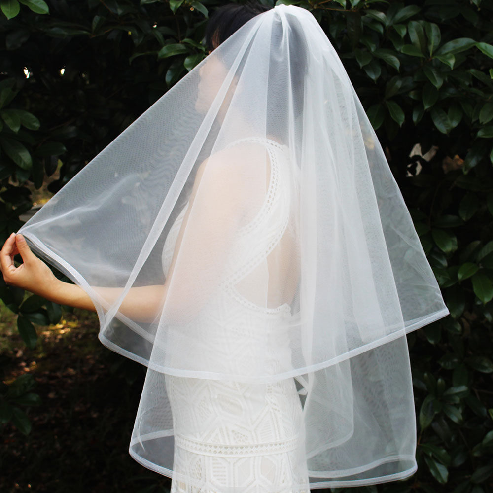 New Short 2T Wedding Veil With Horsehair 2 Layers Bridal Veil With Blusher Velo De Novia Bride Accessories