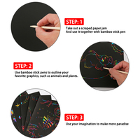 Scratch Note Children's Creative DIY Scratch Painting Colorful Graffiti Notebook Black Paper Magic Rainbow Painting Boards