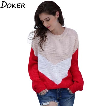 Patchwork Warm Sweater Women Autumn Winter O-neck Long Sleeve Loose Pull Jumper Female Vintage Fashion Sweaters And Pullovers new arrival casual spring autumn loose sweater pullovers women long sleeve patchwork knit top female o neck geometric sweater