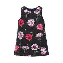 Menoea dziewczyna księżniczka sukienka 2019 marka lato dla dziewczynek Party kwiatowy wzór sukienki ubrania dla dzieci kolano długość bez rękawów