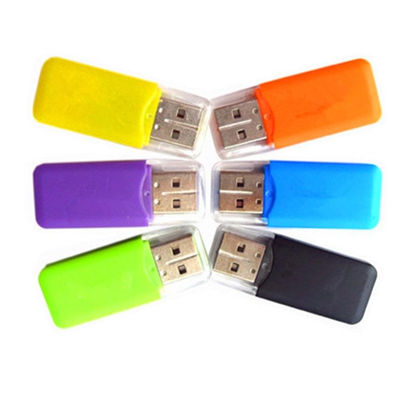 1 قطعة قارئ بطاقات خارجية ملونة صغيرة USB 2.0 قارئ بطاقات ل TF بطاقة للكمبيوتر MP3 MP4 لاعب Usb مهايئ توزيع