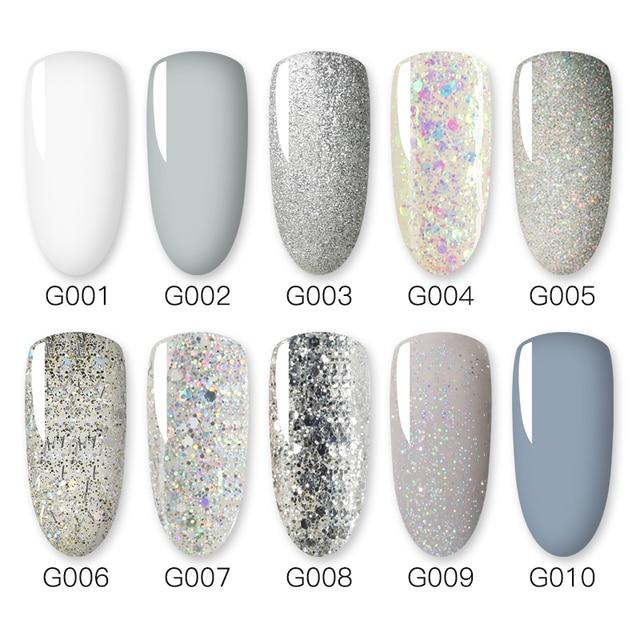 Gelfavor 8ml Gel Nail Polish Glitter For Manicure set nail art Semi platium UV LED Lamp Nail varnishes Base top coat Gel lacquer 4