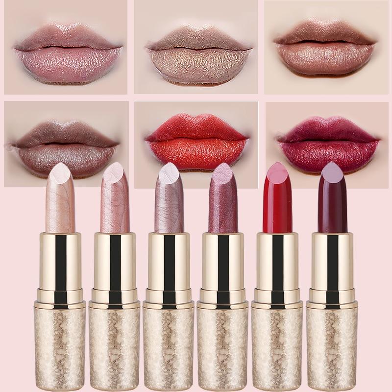 Pearl Light Snowflake Matte Lipstick 6 Color Waterproof Durable Metal Lipstick Velvet Matte Lip Gloss Makeup Beauty Shimmer Lips