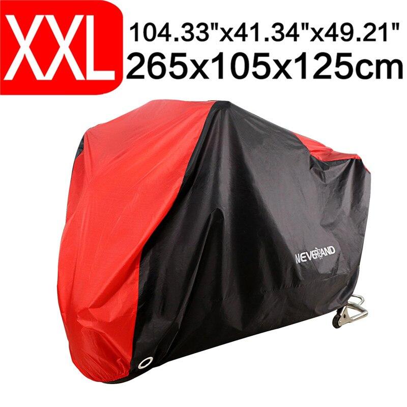 XXL 265cm 104 Inch Black Red 190T Waterproof Rain Dust UV Outdoor Indoor Motorcycle Cover Coat For DDD K 1600 GTL Honda D35