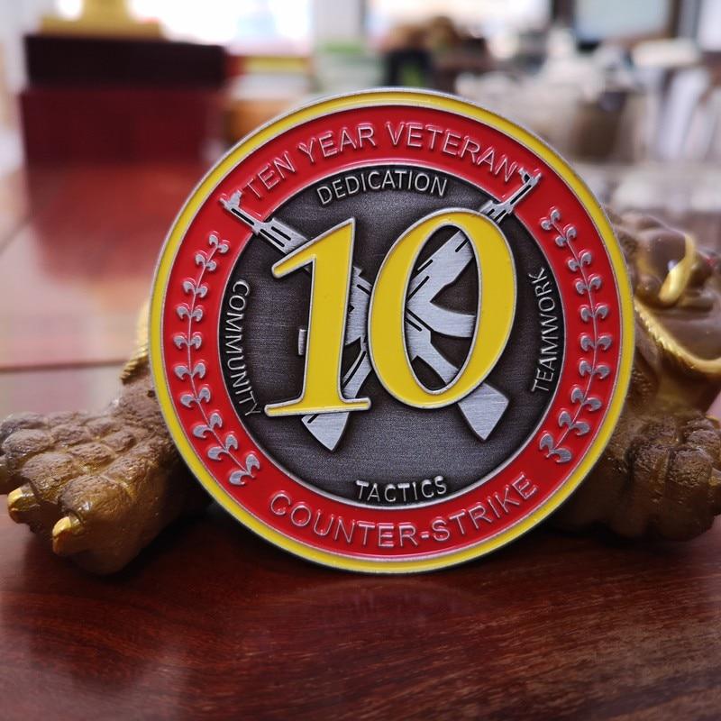 CSGO CS GO Counter Strike десятилетняя монета-Ветеран, 10 лет медали, монета CSGO десятилетняя Коллекционная монета бесплатно с одной случайной булавкой
