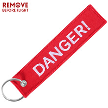 DANGER Keychain for Motorcycles and Cars Safty Key Tags Embroidery Red Chaveiro Para Moto ATV Car Tag OEM Jewelry