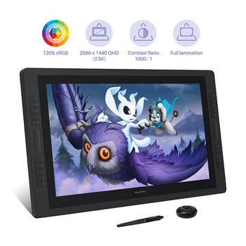 Huion Kamvas Pro 24 Graphic Tablet Monitor 23.8 inch 2K QHD Pen Display 120%s RGB Pen Tablet Monitor Dual Touch Bar 20 Keys classical design huion h690 graphic drawing tablet w pen upgraded version of huion h610 anti fouling glove wool felt liner bag