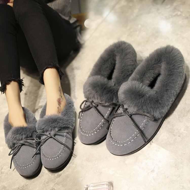 Ayakkabı kadın mokasen kış mokasen ile 2019 kadın ayakkabı kürk yuvarlak ayak bale daireler siyah yeşil yumuşak rulo yumurta bezelye anne ayakkabısı