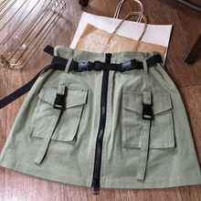 Solid Skirt Female Casual With Pocket Sashes Jupe  Zipper Loose Elastic Women Khaki Bottoms