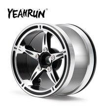 Yeahrun beadlock metal 2.2 polegadas roda jantes prata/preto cubo de roda para axial wraith 90048 TRX-4 TRX-6 1/10 rc crawler peças do carro