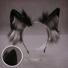 2021 preciosa de imitación de piel de lobo orejas realista Furry esponjoso Animal pelo Lolita de Anime mascarada Cosplay traje
