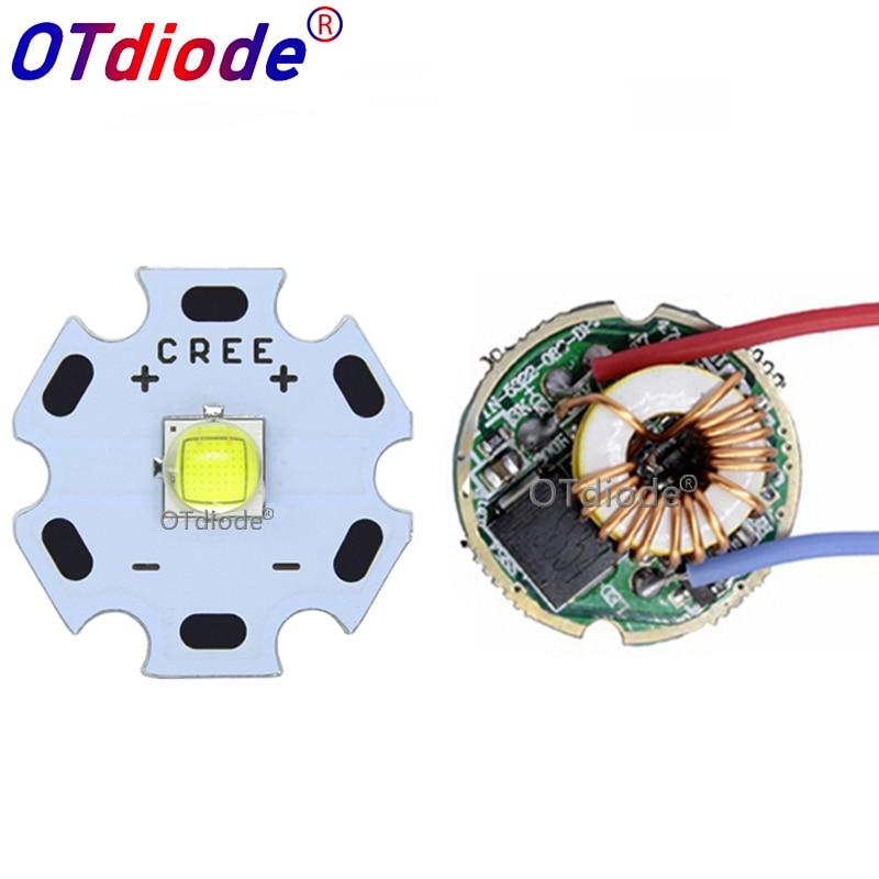 Cree XML2 XM-L2 T6 10W Ad Alta Potenza LED Emettitore Bianco Freddo Diodo 16/20mm PCB + 17 mm/22mm DC3.7V 12V Driver