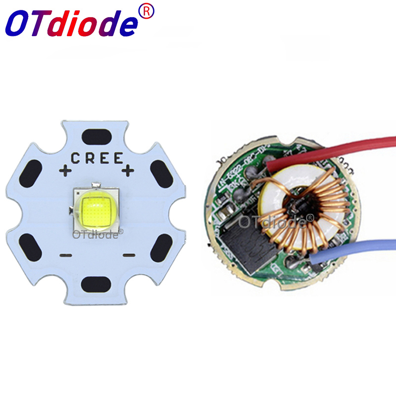 Cree XML2 XM-L2 T6 10W High Power LED Emitter Cool White Diode 16/20mm PCB+17mm/22mm DC3.7V 12V Driver