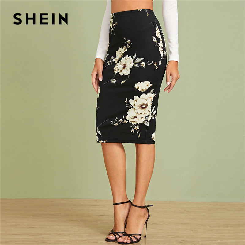SHEIN Black Elastic Waist Floral Print Pencil Skirt Women Office Lady Autumn High Waist Slim Fitted Elegant Midi Skirts