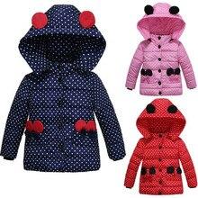 LEAPPAREL Children Girls Polka Dot Hoodies Coat Bow Pocket Kids Winter Warm Padded Jackets School Outwear