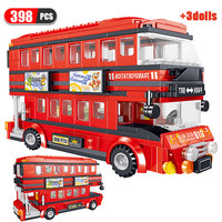 398pcs Creator City Transport Bus Car Building Blocks Technic Red Double-decker Bus Enlightenment Toys for Children Boys