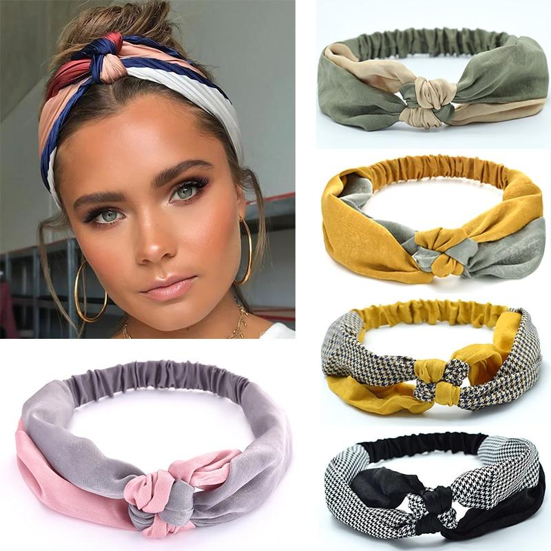 2020 nowych moda kobiet elegancka miękka opaska Vintage krzyżowy węzeł elastyczne gumki do włosów stałe dziewczyny Hairband akcesoria do włosów