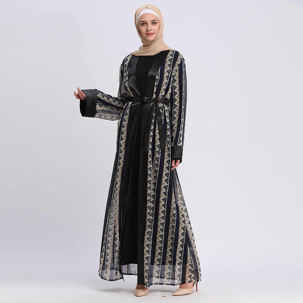 Muslim Open Abaya Women Vintage Geometry Kimono Moroccan Kaftan Jubah  Tunics Ramadan Eid Adha Party Islamic Autumn Clothes Dubai