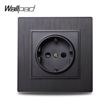 Wallpad S6 UE eléctrico potencia de salida enchufe de pared alemán macho negro plata oro cepillado de plástico PC imitando de aluminio