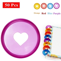 50 Pcs 28mm Candy Color Heart Disc Binder for Discbound Notebooks/Planner Diy DiscboundDiscs Loose Leaf Binding Rings LF19-308
