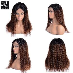 Омбре, темно-кудрявые парики, черный-коричневый, боковая часть, длинный глубокий волнистый парик с бразильским Реми, кружевные передние чел...