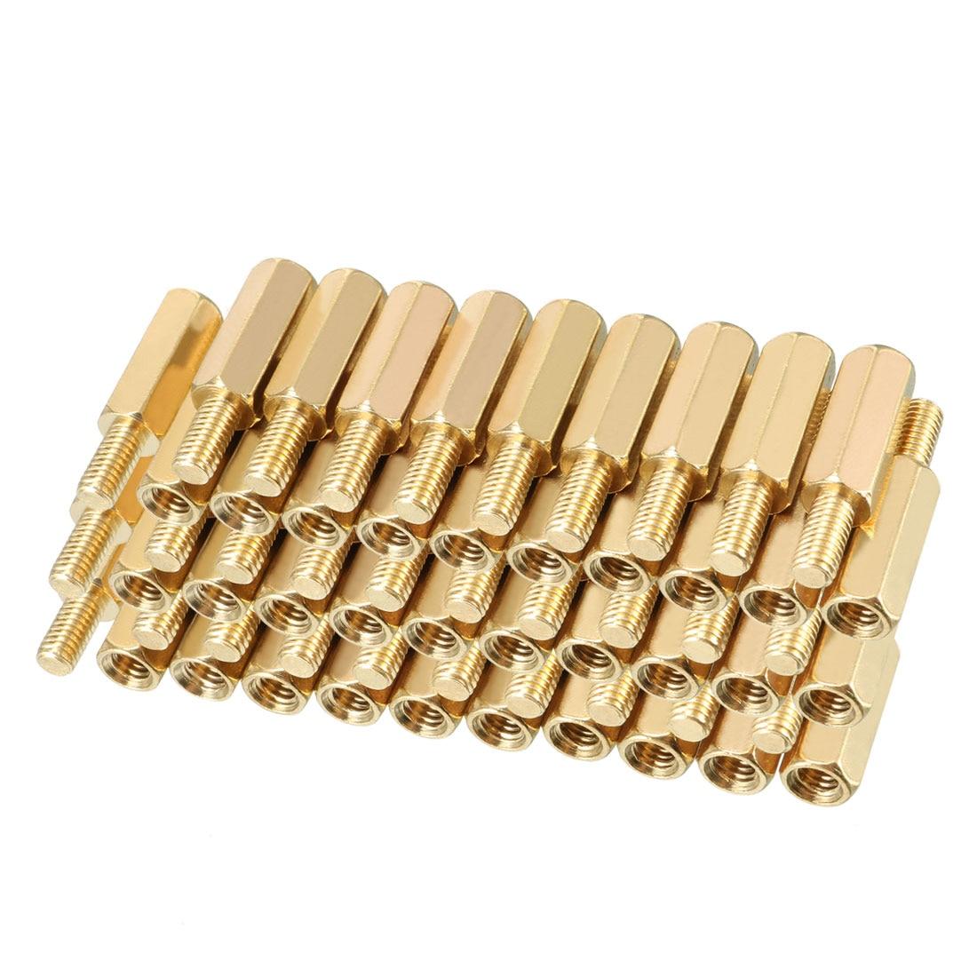 uxcell 46pcs M3 6+4mm Female Male Thread Brass Hex Standoff Spacer Screws PCB Pillar