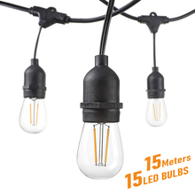 LED Bulb String Lights 15M 15 Bulbs Waterrproof IP65 Connect
