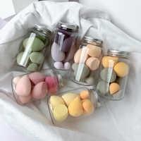 7 PCS/Jar Makeup Foundation Sponges Beauty Egg Wet Dry Dual Use Makeup Concealer Puff Makeup Egg Cosmetic Tool Set with Bottle