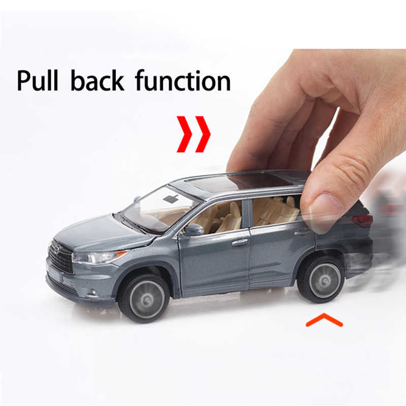 1:32 TOYOTA Highlander Diecast Alloy Car Model Toy High Simulation Metal SUV Model 6 Doors Can Be Opened Gift For Kids Christmas