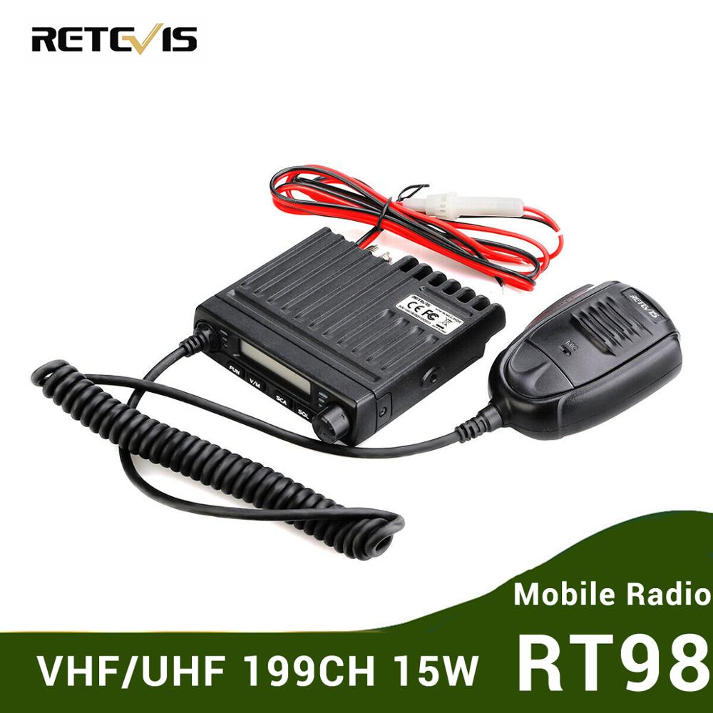 Mini Mobile Radio RETEVIS RT98 UHF ( Or VHF ) 15W 199CH Car Walkie Talkie Ham Radio LCD Car Radio Transceiver With Speaker Mic