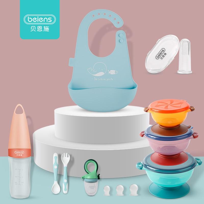 Baby Feeding 8pcs/set Kids Feeding Bottle Bowl Silicone Spoon Fork Newborn Pacifier With 3 Nipples  Waterproof Bib Toothbrush