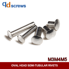 304 M3M4M5 stainless steel Oval Head Semi-Tubular Rivets flat round head semi-hollow rivet GB873