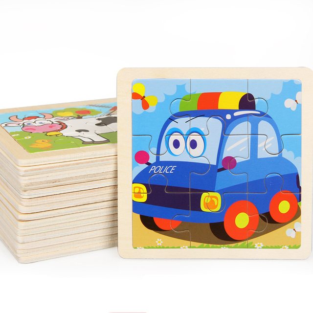 Mini Size 11*11CM Kids Toy Wood Puzzle Wooden 3D Puzzle Jigsaw for Children Baby Cartoon Animal/Traffic Puzzles Educational Toy 2
