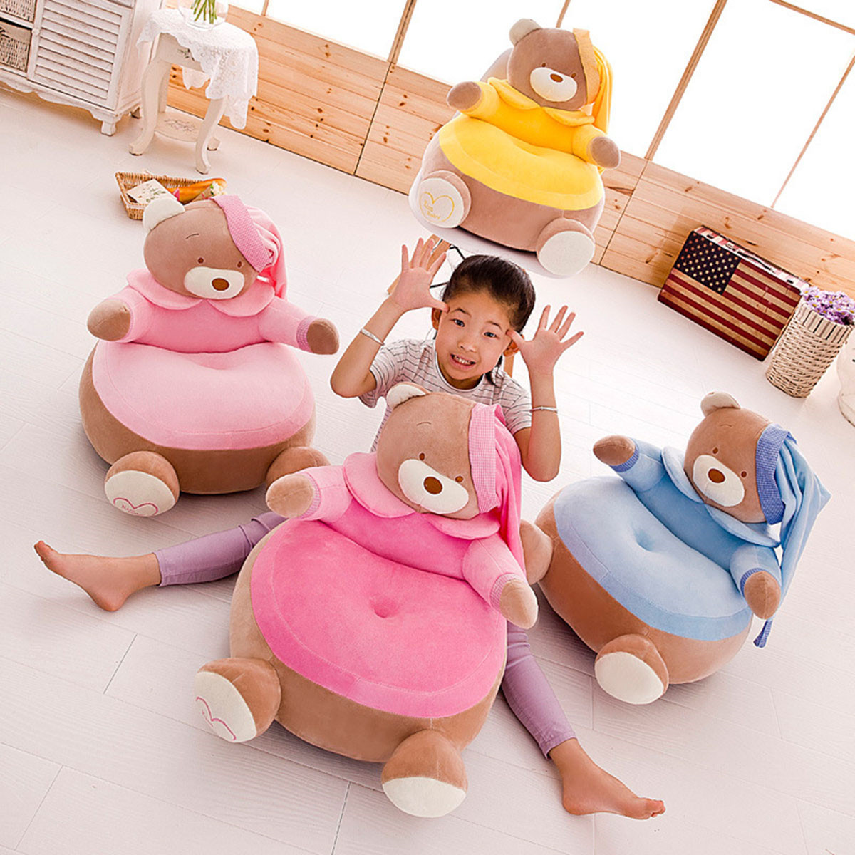 Baby Seat Baby Chair Bean Bag Cartoon Baby Crown Bear Nest Child Chairs Seat Puff Children Luxury Fur Sofa Seat Cover No Stuffed